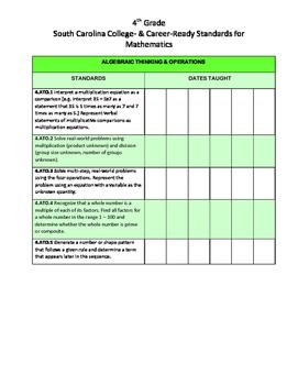 4th Grade Math South Carolina College & Career Ready Standards Checklist