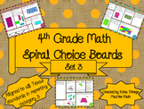 4th Grade Math Spiral Choice Board Set 3 Over 80 Questions Homework Math Center
