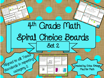 4th Grade Math Spiral Choice Boards Set 2 Over 80 Question