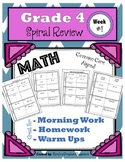 4th Grade Math Spiral Review/ 4th Grade Math Morning Work/
