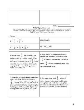 4th Grade Math Spiral Review: Adding, Subtracting, and Multiplying of Fractions