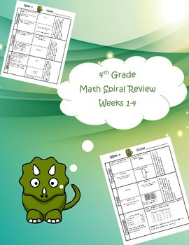 4th Grade Math Spiral Review Bundle (TEKS aligned) Weeks 1-36 - Save $7