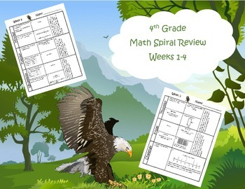 4th Grade Math Spiral Review (Common Core aligned) Weeks 1-4