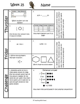 4th Grade Math Spiral Review (Common Core aligned) Weeks 25-28