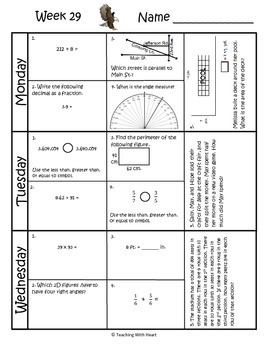 4th Grade Math Spiral Review (Common Core aligned) Weeks 29-32