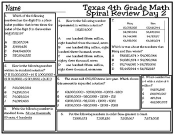 4th Grade Math Spiral Review Days 1-5