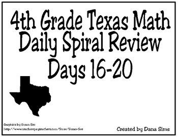 4th Grade Math Spiral Review Days 16-20