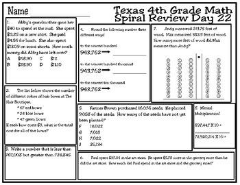4th Grade Math Spiral Review Days 21-25
