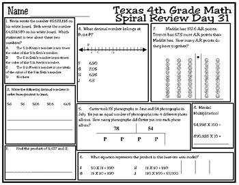 4th Grade Math Spiral Review Days 31-35