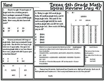 4th Grade Math Spiral Review Days 46-50