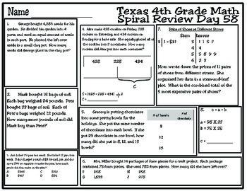 4th Grade Math Spiral Review Days 56-60