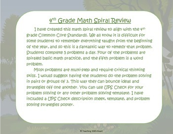 4th Grade Math Spiral Review Free Sample (Common Core aligned) Week 19