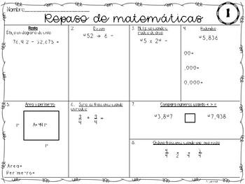 4th Grade Math Spiral Review Repaso de matemáticas