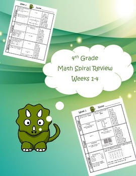 4th Grade Math Spiral Review (TEKS aligned) Weeks 1-4