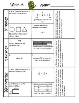 4th Grade Math Spiral Review (TEKS aligned) Weeks 13-16