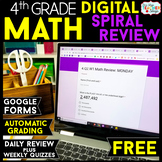 4th Grade DIGITAL Math Spiral Review & Weekly Quizzes | Google Forms | FREE
