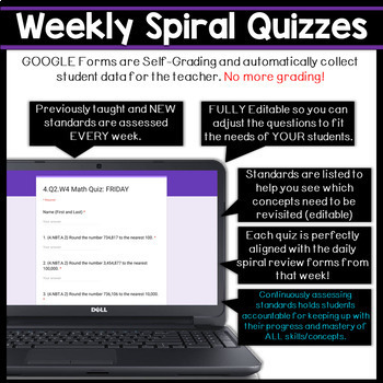 4th Grade Math Spiral Review & Quizzes | Google Classroom | Distance Learning