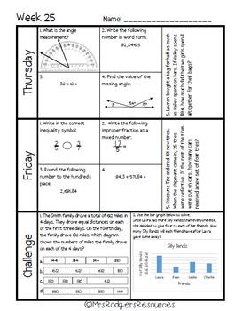 4th Grade Math Spiral Review (Weeks 25-28)