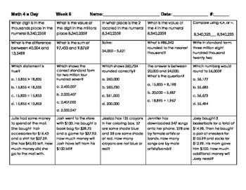 4th Grade: Math Spiral Review Weeks 5-9