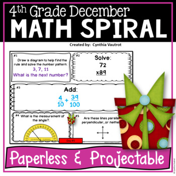 December Daily Math Spiral for 4th Grade (Common Core)