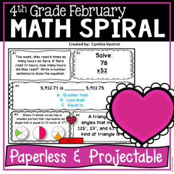 February Daily Math Spiral for 4th Grade (Common Core)