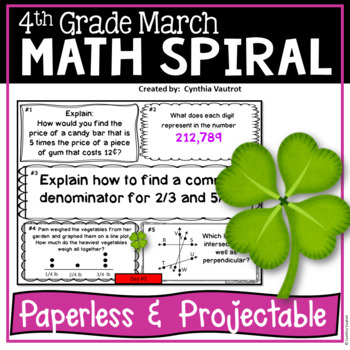 March Daily Math Spiral for 4th Grade (Common Core)