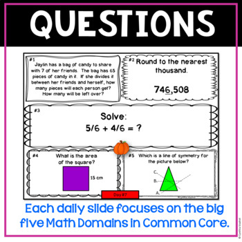 October Daily Math Spiral for 4th Grade (Common Core)