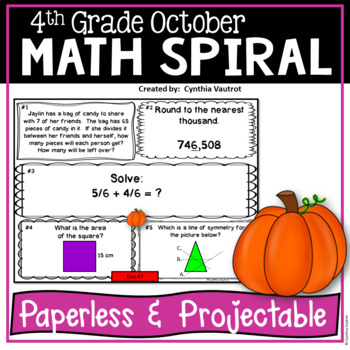 October Daily Math Spiral!