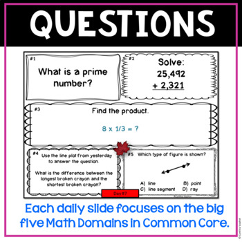 November Daily Math Spiral for 4th Grade (Common Core)