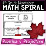 November Daily Math Spiral!