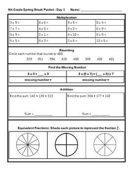 4th Grade Math Spring Break Packet - Common Core aligned