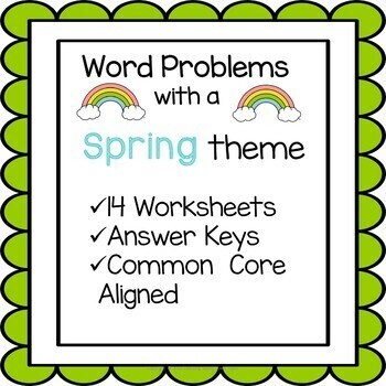Spring Math Word Problem Worksheets 4th Grade Common Core Tpt