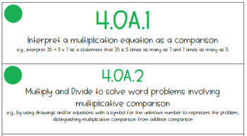 4th Grade Math Standards Cards (Aligned to Louisiana State Standards)