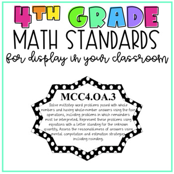 4th Grade Math Standards for Display