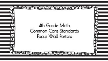 4th Grade Math Standards on Black Striped Frame