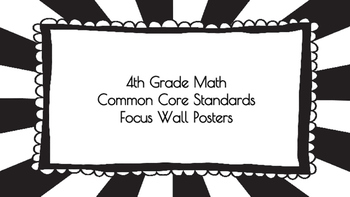 4th Grade Math Standards on Black Sunburst Frame