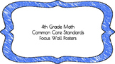 4th Grade Math Standards on Blue Colored Frame