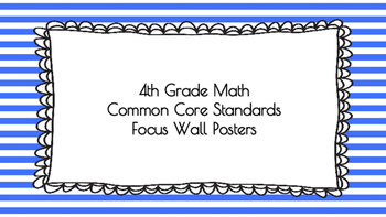 4th Grade Math Standards on Blue Striped Frame