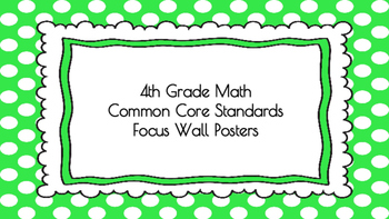 4th Grade Math Standards on Green Polka Dotted Frame