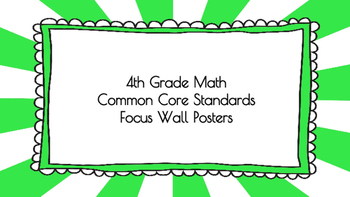 4th Grade Math Standards on Green Sunburst Frame