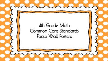 4th Grade Math Standards on Orange Polka Dotted Frame