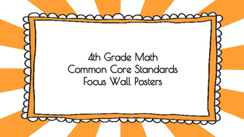 4th Grade Math Standards on Orange Sunburst Frame