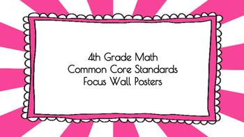 4th Grade Math Standards on Pink Sunburst Frame