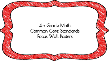 4th Grade Math Standards on Red Colored Frame