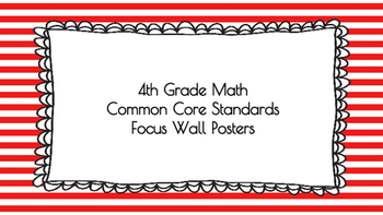 4th Grade Math Standards on Red Striped Frame