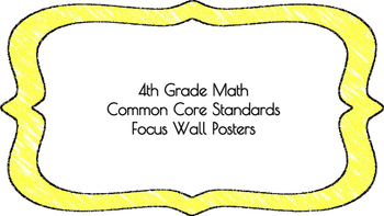 4th Grade Math Standards on Yellow Colored Frame