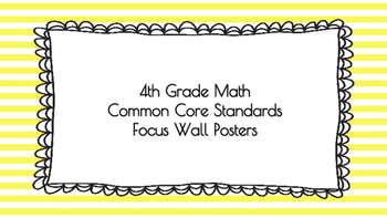 4th Grade Math Standards on Yellow Striped Frame