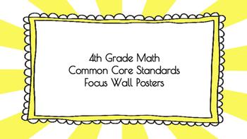4th Grade Math Standards on Yellow Sunburst Frame
