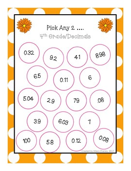 4th Grade Math Station Pick any 2 with Decimals