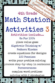 4th Grade Math Stations 3